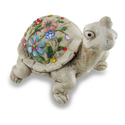 Zeckos - Stone Look Jeweled Floral Shell Turtle Garden Statue - This turtle is a whimsical home or lawn accent that symbolizes endurance and long life, with a happy face This stone look resin turtle is so charming, he's sure to find an instant home in your heart Measuring 10.5 inches (27 cm) high, 12.25 inches (31 cm) long, and 13 inches (33 cm) wide with a floral hand-painted and bejeweled shell, this turtle sculpture is a wonderful addition to your garden oasis sure to be admired
