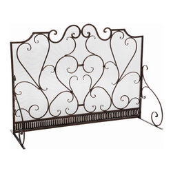 Great Deal Furniture - Adalia Black Brushed Gold Finish Wrought Iron Fireplace Screen - The Adalia Fireplace Screen is beautifully crafted out of iron and highlights ornate design work on the face of the screen. The sophistication of this fireplace screen adds a refined look to any fireplace filled room.