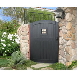Sherwood Collection Gates - 'Four Pane Window' design from the Sherwood Collection of wood gates by Sederra.  Purchase unfinished or choose from a variety of factory finished including black paint which is shown here.  Note:  there is not glass on this design -- the metal work is open.