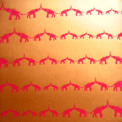 Jill Malek - Baby Elephant Walk, Red Saffron - These elephants would surely bring joy and happiness to any wall, and as a bonus their upturned trunks symbolize good fortune. How could you not be happy with a space filled with this pattern? The adorable baby elephants are printed in upstate New York and come in 27-inch-by-15-foot rolls, ready for installation.