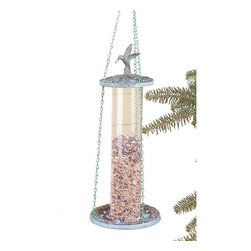 "Renovators Supply - Birdfeeders Verdegris Brass/Plastic Birdfeeder - Brass with verdigris finish, the brass chain is included. Overall 16"" high x 6"" wide, plastic tube is 12"" long."