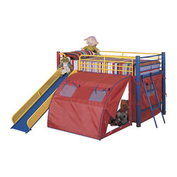 Coaster - Oates Loft Bed - Matching toy chest is available for separate purchase.  Your child will have hours of daytime play in this bunk bed with sturdy construction and tons of storage.  Make bedtime fun with this multi-colored bed and tent set.  Turn your little ones bedroom into a playground with this fun bunk bed.  This is the ultimate bunk bed for a child! * NOTE: ivgStores DOES NOT offer assembly on loft beds or bunk beds. Includes slide and tent. Toychest and mattress not included. Twin size. Made from metal. Casual style. Round tube legs. Clean lines. 115.38 in. L x 99.63 in. W x 49.75 in. H. Warranty. Bunk Bed Warning. Please read before purchase.This fun loft bed will be a welcome addition to your child's bedroom. Create a cool fort for your little one with this lofted twin size bed. An attached ladder makes it easy to climb to the top, while a slide offers a great way to get back down! A tent covers the opening below the bed, for a fun spot to play with toys, read a book or play hide and seek. This cool tented bunk bed will quickly become a favorite in any child's home.