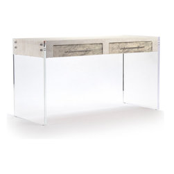 Kathy Kuo Home - Modern Art Deco Hollywood Regency Acrylic Hair on Hide Desk - Just because you may be working at home doesn't mean you can't be surrounded by luxury and glamour.  This modern Hollywood style desk brings together a clear acrylic base with a faux leather desktop and textured cowhide drawer front finishes for a unique piece of art that doubles as a fully functional desk.  Now you'll WANT to bring work home.  Proudly made in the USA.