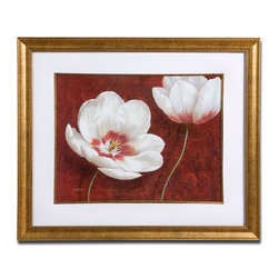 Uttermost - Prized Blooms Floral Art - These impeccable white poppies bring such elegance and grace to a setting. A gold leaf frame surrounds the print to set off the red background and complement your decor.