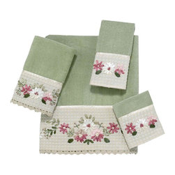 Avanti Linens - Victoria 4 Piece Cotton Towel Set by Avanti Linens - Truly a standout, this ribbon embroidered towel ensemble features a floral motif in soft pastel colors. Shear velour face towels are accented with a crochet trim. The color of the towels is sage.
