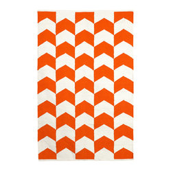 Metropolitan Indoor Cotton Rug, Orange Peel & Bright White, 6x9