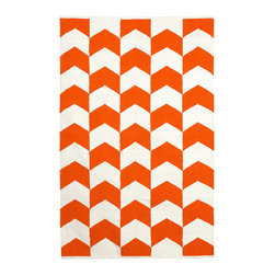Fab Habitat - Metropolitan Indoor Cotton Rug, Orange Peel & Bright White, 6x9 - So striking, so simple, this hand-woven rug will floor you with its bold, bright design. Not merely stylish, it's smart, too — made from 100 percent recycled cotton using sustainable practices and dyes.