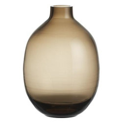 Walsh Vase - Refined curves nuance brown ombre shadings in clear handcrafted glass.