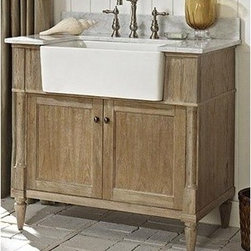 """Fairmont Designs - Fairmont Designs Rustic Chic 36"""" Farmhouse Vanity - Weathered Oak - Designed to flaunt the beauty of its wood, Rustic Chic invites you to bring a touch of texture to your bath. The earth-bound, organic look derives its appeal from clean lines and tactile Weathered Oak veneers, accented with subtle brass finished knobs. A variety of cabinet sizes and configurations allows you to customize your space...naturally. Fairmont Designs is described in two words; quality and beauty. Express your creativity with Fairmont Designs bathroom vanities and bath furniture ensembles. The distinctive families of bath furniture from Fairmont Designs come in styles for every bath. Artistry and elegance are delivered in carefully constructed products built with sustainable materials and sturdy craftsmanship. From petite corner solutions to traditional sized pieces, Fairmont Designs is your choice for exquisite and timeless beauty.Features: Materials: White Oak Veneers with White Oak Solids Hinges: Fully concealed, soft closing Doors: 2 Hardware: Brass Dimension: 36""""W x 22""""D x 34-1/2""""H (not including counter) How to handle your counter View Spec Sheet Natural stone like marble and granite, while otherwise durable, are vulnerable to staining from hair dye, ink, tea, coffee, oily materials such as hand cream or milk, and can be etched by acidic substances such as alcohol and soft drinks. Please protect your countertop and/or sink by avoiding contact with these substances. For more information, please review our """"Marble & Granite Care"""" guide."""