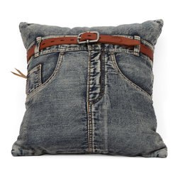 ZUO ERA - Jean Cushion Blue Denim w/ Front Jean - Made from recycled denim fabric sewn into a whimsical design, the Jean cushion is a must for any room.