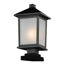 Z-Lite - Z-Lite Holbrook Outdoor X-KB-MPQS-BHP735 - Clean, mission styling and rectangular detailing define the classic styling of this large outdoor pier mount. White seedy glass panels create an elegant glow, while the cast aluminum hardware finished in black can withstand nature's seasonal elements.