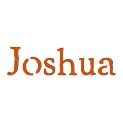 Stencil Ease - Joshua Stencil - Joshua - Rustic Style Name Stencil Popular Kid's Names for stenciling rooms furniture clothes bags and school supplies. Purchase a durable reusable laser cut plastic stencil with your childs name to use for any stenciling project. Name stencils will last for years and can be used on any surface. These reusable name stencils can be colored with any kind of paint chalk ink spray stain or coloring. Have fun stenciling your kid's room new and old furniture basement walls floors or team clothing.  below Letter heights are based on ascenders and descenders (extend above mid-line and below baseline).
