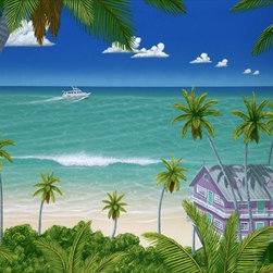 """Upside of Paradise 9x12 Print - """"Upside of Paradise"""" is a tropical canvas giclee by Dan Mackin. We present this to you in a 1/2"""" blonde frame that slightly overlaps the face of your picture. This makes for an overall framed size of 13x16."""