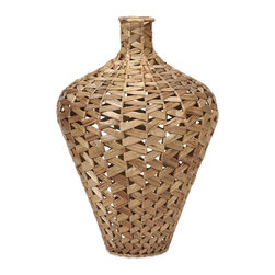 iMax - iMax Lelei Large Woven Water Hyacinth Vase X-01276 - Beautifully woven from sustainable hyacinth leaves in a natural finish, the Lelei vase brings an earthy elegance to any room.