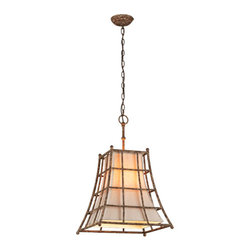 Troy - Left Bank Coastal Rust Four Light Medium Pendant with Hardback Linen Shade - - Left Bank 4 Light Medium Pendant in Coastal Rust Finish with Hardback Linen Shade. Made from Linen and Hand-Forged Iron. The use of stem is optional. Canopy: 5-Inch W x 0.75-Inch H.   - Chain or Rod Length: 4 ft. Chain and 10.25-Inch Stem   - Shade Material: Hardback Linen   - Bulb Not Included Troy - F3784