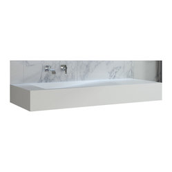 ADM - White Wall Hung Stone Resin Sink - This spectacular bathroom sink features a subtle grade for water to gracefully flow down toward the drain. You also get countertop space on either side of the basin, yet with lines this clean, you might find yourself putting accessories away just to gaze at this sink.
