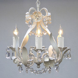 Regent - Mini 4-light White Floral Crystal Chandelier - Floral styling and crystal accents make this hanging fixture a luxurious addition to your home decor. This floral crystal chandelier features four lights and a stunning white finish,offering you plenty of indoor light and a high-end look.