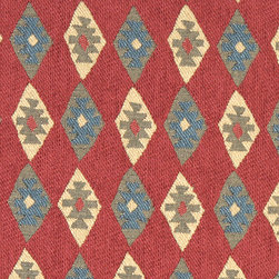 Red, Blue and Beige, Diamond Southwest Style Upholstery Fabric By The Yard - This southwest chenille upholstery fabric is great for all indoor upholstery applications. This material is uniquely soft, durable and made in America! Any piece of furniture will look great upholstered in this material.