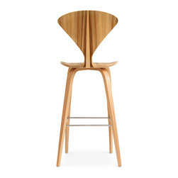 Cherner - Cherner Stool with Wood Base - The Cherner Stool with Wood Base takes the iconic molded plywood Cherner stool seat and gives it a matching molded plywood base. Made from original drawings and molds, this stool is a mid-century classic. Bar height or counter height, with optional upholstered seat pads.