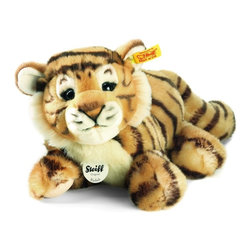 Steiff - Steiff Radjah Baby Dangling Tiger - Steiff Radjah Baby Dangling Tiger is made of cuddly soft striped plush. Ages 3 and up. Machine washable. Handmade by Steiff of Germany.