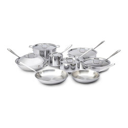 All-Clad - All-Clad Stainless Steel 14-Pc Cookware Set - Includes: