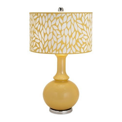 iMax - Bascilia Glass Table Lamp - Leaf it to us to create a modern glass lamp with retro style in cornflower gold with an iron base and a polyester shade in a leafy print and then top it with a silvered finial for just the right amount of flash.