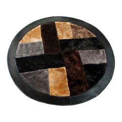 Blancho Bedding - Onitiva - Land of Windmills-1 Patchwork Rugs  35.4 by 35.4 inches - This patchwork rug is made of high quality faux fur and it features an attractive pattern that traps moisture and dirt. Leather edge for added quality.