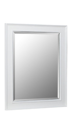 """Kitchen Bath Collection - Wall Mirror, White - This classic wall mirror is a perfect match for any Kitchen Bath Collection white bathroom cabinet.  Dimensions: 28"""" wide x 35"""" high x 1.25"""" thick.  Frame: 3.25"""" wide."""