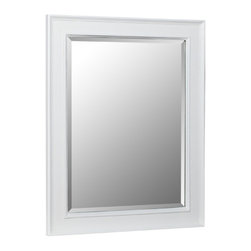 "Kitchen Bath Collection - Wall Mirror, White - This classic wall mirror is a perfect match for any Kitchen Bath Collection white bathroom cabinet.  Dimensions: 28"" wide x 35"" high x 1.25"" thick.  Frame: 3.25"" wide."