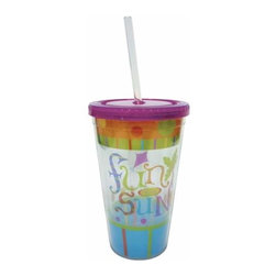 """WL - 6.25 Inch """"Fun in the Sun"""" Lidded Tumbler with Straw Drinking Cup - This gorgeous 6.25 Inch """"Fun in the Sun"""" Lidded Tumbler with Straw Drinking Cup has the finest details and highest quality you will find anywhere! 6.25 Inch """"Fun in the Sun"""" Lidded Tumbler with Straw Drinking Cup is truly remarkable."""