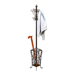 ecWorld - Casa Cortes Metal Coat and Hat Hanging Rack with Umbrella Holder - Hospitality with an accent on style. Offer guests a handy place to hang jackets and hats, as well as an elaborately scrolled basket to stow damp umbrellas, with this handsome stand - you'll love it!