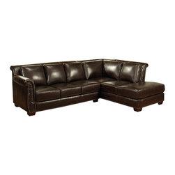 Abbyson Living - Abbyson Living Olbia Burgundy Italian Leather Sectional Sofa - Kiln-dried hardwood