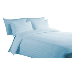 800 TC Duvet Cover with 1 Fitted Sheet Striped Sky Blue, Twin - You are buying 1 Duvet Cover (68 x 90 inches) and 1 Fitted Sheet (39 x 80 inches) only.
