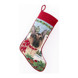 "Peking Handicraft - German Shepard Needlepoint Stocking - With its charming vintage design and intricate needle point quality– our adorable pet stockings are ready to fill with toys and treats for your best friends!  This well made stocking features a plush velveteen color coordinated back and is meant to last for years!  Indeed Decor will donate 20% of profits to animal rescue charities.  Dry Clean Only. 11"" x 18""."