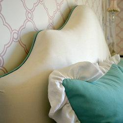 Custom headboards and frames - Custom headboard and pillows by Anaya's Custom Draperies.