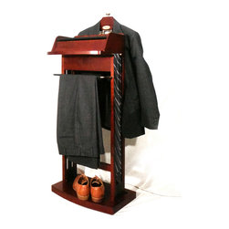 None - Excalibur Wardrobe Charging Valet VL16201 - This dark cherry charging valet provides a no-fuss area for you to handle wardrobe transitions while doubling as a nightstand or high accessory table. The built-in power strip lets you add a small lamp or charge your mobile devices.