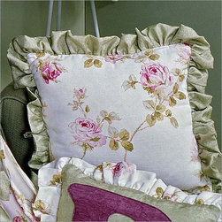 Princess Rose Initial Pillow with Ruffle by Bebe Chic - This beautiful Initial pillow with ruffle is fashioned out of a combination of the fabrics.The main fabric of the pillow is Crinkle sage with a customized letter in Crinkle plum and a ruffle in Orchid garden floral. This pillow is the perfect addition to your child's room.