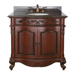 AVANITY PROVENCE 36 in. Bathroom Vanity - The Provence Collection is offered in a beautiful distressed cherry wood finish with hand carved French details. This vanity is available in five sizes with optional matching granite tops. It offers a concealed drawer inside all single cabinets for your storage needs. Coordinating pieces include matching mirrors and linen tower to complete the look.
