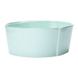 "Vietri - Vietri Italian Stoneware Lastra Medium Serving Bowl 8.5""D, 3.5""H, Aqua - Serve scrambled eggs or warm rolls in the morning or fill with lemons for a fresh centerpiece with the Lastra medium serving bowl. Made in Tuscany of Italian stoneware. Microwave, freezer, dishwasher and oven safe and highly resistant to chipping."