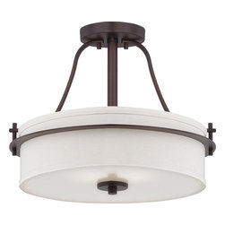 Nuvo - Two Light - Semi Flush - Venetian Bronze Finish with White Linen Shade - Shade: White Linen Shade.  Bulb Info: 2 x 60W Medium Base A19 Incandescent (Bulb Not Included).  Style: Contemporary.  UL Certified: Dry Location.  . Color/Finish: Venetian Bronze. 15 in. W x 13.13 in. H (6.81 lbs)The Loren collection finished in venetian bronze or polished nickel and accented by etched opal glass or white linen shades, features unique chandeliers, pendants and vanities.  The venetian bronze finish adds a bold country look to kitchens, dining, living areas and baths where the polished nickel finish which is decidedly contemporary, has an upscale look which adds to an already elegant design.  The Loren collection finds itself at home anywhere a distinctive design touch and soft task or ambient lighting is needed.