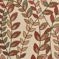 Orange, Red and Green, Vines and Leaves Upholstery Fabric By The Yard - This contemporary upholstery jacquard fabric is great for all indoor uses. This material is uniquely designed and durable. If you want your furniture to be vibrant, this is the perfect fabric!