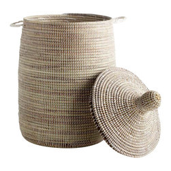 Large African Handmade Lidded Basket - Functional and beautiful.  Our hand woven lidded basket cleverly stores your items for a clean and organized home.  Available in limited quantities.