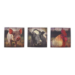 Set of 3 Farm Animal Printed Canvas Wall Hangings - This set of rustic barnyard canvases complements your country decor. They feature a pig, a cow, and a rooster, and measure 16 inches tall, 16 inches wide, and 3/4 of an inch thick. They easily mount to any wall by the picture hanger on the back, and are sure to be admired.