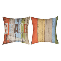 """Manual - Pair of """"To the Beach"""" Climaweave 18 Inch Indoor / Outdoor Throw Pillows - This pair of 18 inch by 18 inch woven throw pillows adds a wonderful accent to your home or patio. The pillows have (No Suggestions) weatherproof exteriors, that resist both moisture and fading. They have a weathered board print on both front and back, with """"To The Beach"""" and an arrow printed on the front. They have 100% polyester stuffing. These pillows are crafted with pride in the Blue Ridge Mountains of North Carolina, and add a quality accent to your home. They make great gifts for anyone who loves the beach."""