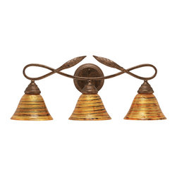 "Toltec - Toltec 113-Brz-454 Bronze Finish 3-Light Bath Bar - Toltec 113-BRZ-454 Bronze Finish 3-Light Bath Bar with 7"" Firre Saturn Glass Shade"