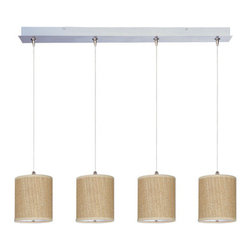 "ET2 - ET2 E95499 Elements 4 Light 8.5 Inch Drum Shade Linear Foyer Pendant - Bulbs Inc - ET2 E95499 Four Light 8.5 Inch Drum Shade Linear Foyer Pendant from the Elements Collection - Bulbs IncludedA twist on a classic design, the Elements linear four light foyer pendant features small 7"" tall drum shaped perforated fabric shades that will enhance the appeal of any room.ET2 E95499 Specifications:"