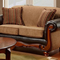 Chelsea Home - Salem Loveseat in Radar Mocha Fabric - Coffee table and pillows not included. Seating comfort: Medium. Upholstered. Kiln dried and crafted of hardwood and cross banded plywood. Precisely assembled with block and staples. No seat cushion is attached. Seat back cushion is attached. No sag steel springs that are tied with insulated border wire for uniform seating. Padded with a polyester pad over the springs. Boxed welt cushions. Zippered and reversible to provide life and prevent uneven wear. 1.8 density foam with polyester wrap. Made from 32% polyester, 68% polypropylene and kiln dried hardwood. Trapper brown color. Made in USA. No assembly required. 68 in. L x 38 in. W x 39 in. H (100 lbs.)