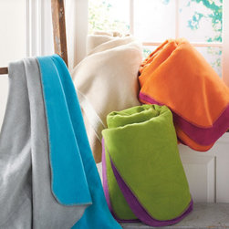 Grandin Road - Easy-Care Reversible Blanket - Soft, reversible blanket with two contrasting hues. Whip-stitched trim on the edges. Fabric is a cotton/acrylic/polyester blend. Machine washable. Monogram to your personal taste. Get twice as many color-coordination options when you choose a reversible blanket. This blend of durable fibers will remain pleasingly soft for years. Choose a neural palette, or go for bold, celebratory colors-they all coordinate with our Grandin Road sheet sets.  .  .  .  .  . Made in Germany.