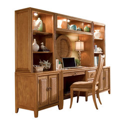 American Drew - American Drew Antigua 2 Piece Home Office Set with Chair in Toasted Almond - Antigua combines popular materials, finishes, hardware and shapes and blends them with pieces for today's lifestyles. It is a collection sure to add a sophisticated coastal or tropical flare to any home. Unique options for bedroom make it easy to create the perfect setting that fits your style.