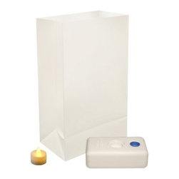 """Lumabase Battery Operated White Luminaria Kit - Set of 12 - Light the way home with the Lumabase Battery Operated White Luminaria Kit - Set of 12. Complete kit includes: 12 weather resistant plastic bags 12 battery operated tea light candles (batteries included) 12 LumaBases (reusable flame-resistant plastic water weighted candleholder that anchors the luminaria). About JH SpecialtiesFounded in 1989 JH Specialties originated when the company's entrepreneurs sought to redesign a bulky and messy celebration staple. Today JH Specialties offers unique decorative Luminarias and accessories for special and seasonal occasions to event planners neighborhoods fundraising organizations and retail stores. Since special occasions shouldn't be hard to plan JH Specialties offer top-of-the-line products for unique events at a competitive price and a great value. The title of """"""""Leader in Luminarias"""""""" comes from their commitment to quality and customer service."""